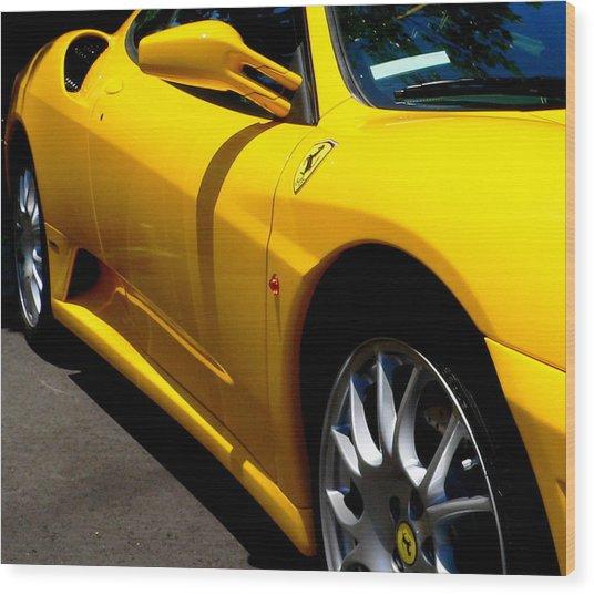 Yellow Ferrari Wood Print