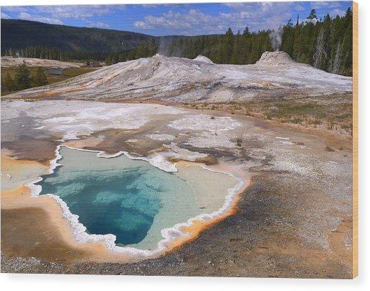 Yellowstone Geyser Wood Print by Patrick  Flynn