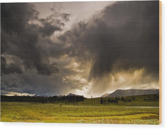 Yellowstone Sky Wood Print by Patrick  Flynn