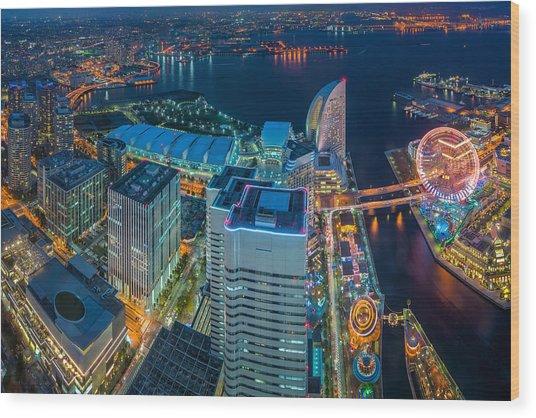 Yokohama, Japan Waterfront Cityscape. Wood Print