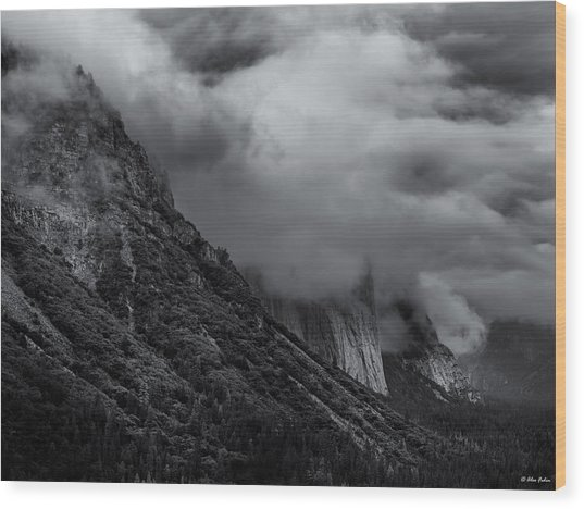 Yosemite Valley Panorama In Black And White Wood Print