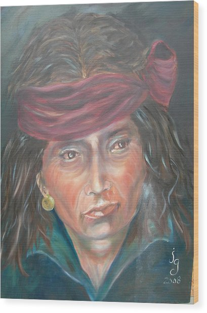 Young Navjo Wood Print by Judie Giglio