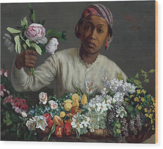 Young Woman With Peonies Wood Print