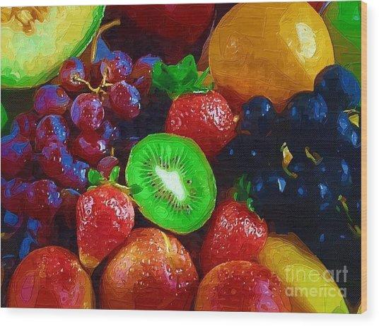 Yummy Fresh Fruit Wood Print by Deborah Selib-Haig DMacq