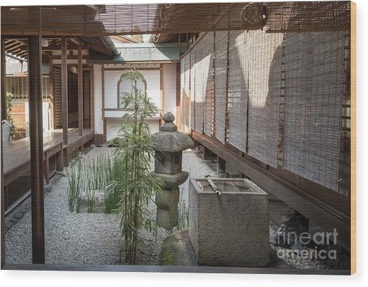 Zen Garden, Kyoto Japan Wood Print