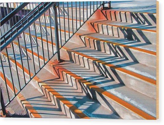 Zig Zag Shadows On Train Station Steps Wood Print