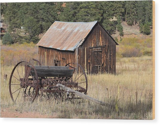 Seed Tiller - Barn Westcliffe Co Wood Print