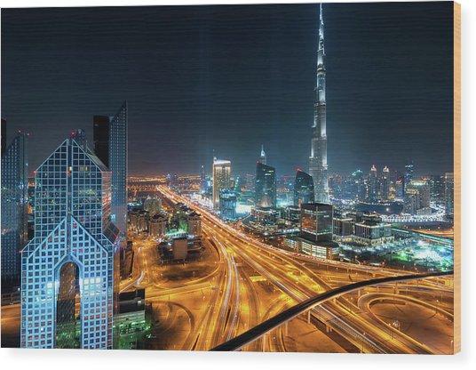 Amazing Night Dubai Downtown Skyline, Dubai, United Arab Emirates Wood Print