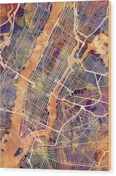 New York City Street Map Wood Print by Michael Tompsett