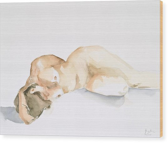 Nude Series Wood Print by Eugenia Picado