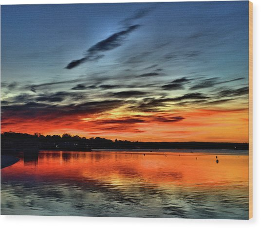 Sunrise Onset Pier Wood Print
