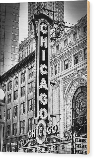 1077 Chicago Theater Black And White Wood Print