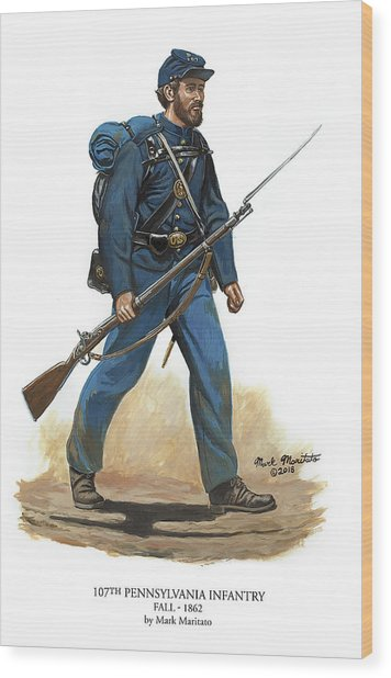 107th Pennsylvania Infantry Regiment - Fall Of 1862 Wood Print by Mark Maritato