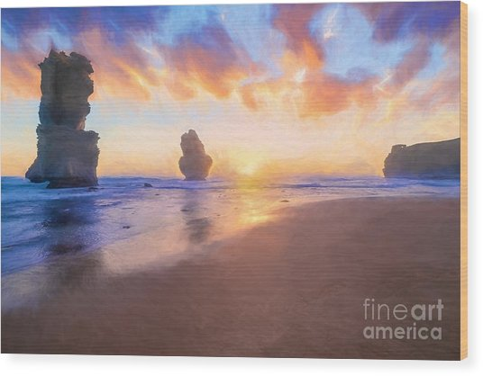 12 Apostles With Marshmallow Skies    Og Wood Print