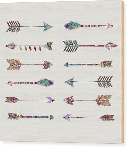 12 Arrows Wood Print