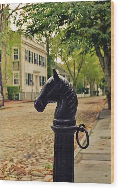 Nantucket Hitching Post Wood Print by JAMART Photography