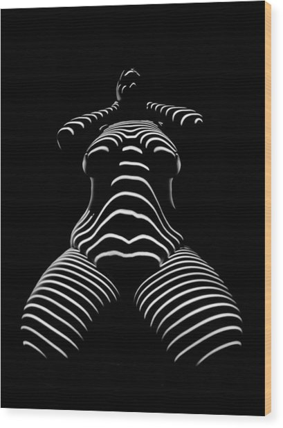 1422-tnd Zebra Woman Big Girl Striped Woman Black And White Abstract Photo By Chris Maher Wood Print