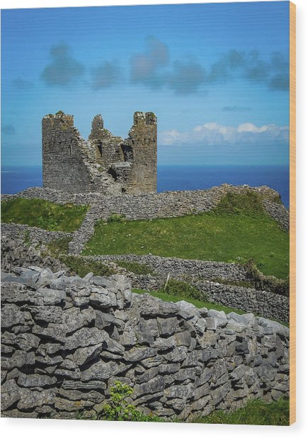 Wood Print featuring the photograph 14th Century O'brien's Castle Aran Islands by James Truett