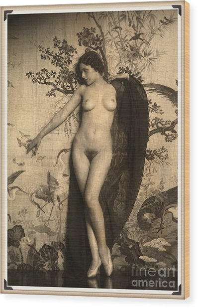 Digital Ode To Vintage Nude By Mb Wood Print