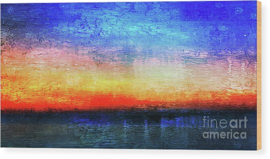 15a Abstract Seascape Sunrise Painting Digital Wood Print