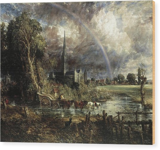 Salisbury Cathedral From The Meadows Wood Print
