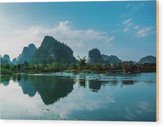 The Karst Mountains And River Scenery Wood Print