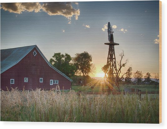 17 Mile House Farm - Sunset Wood Print