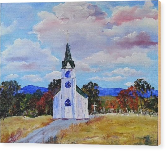 #17 St. Johns Historic Church On Hwy 69 Wood Print