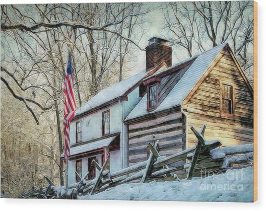 1700's Log House In West Chester, Pa Wood Print