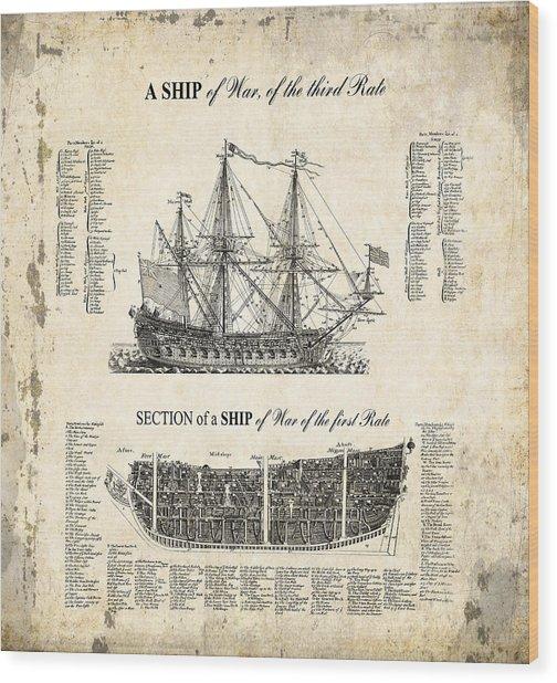 1728 Illustrated British War Ship Wood Print