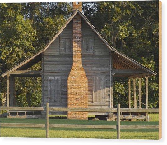 1844 Log Cabin Wood Print
