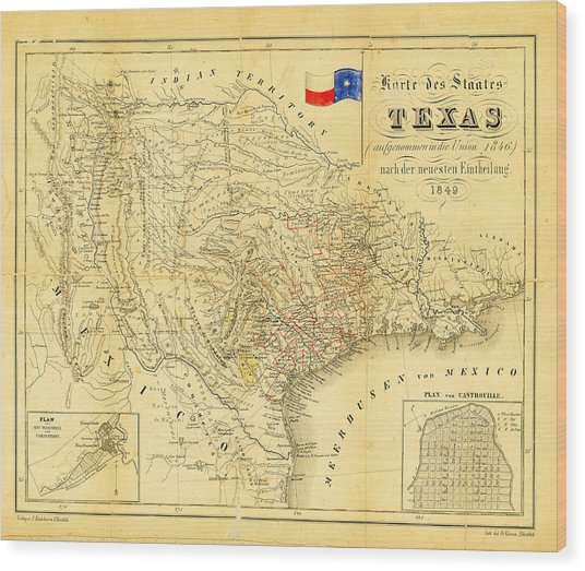 1849 Texas Map Wood Print