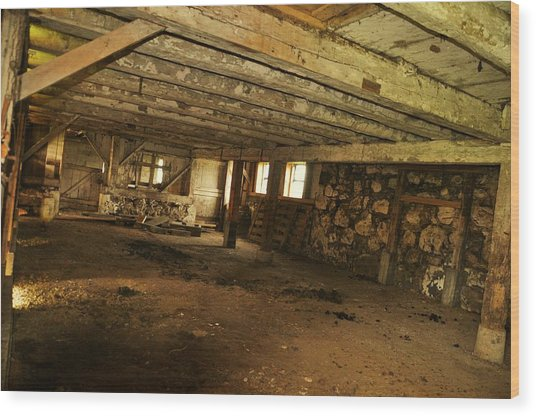 1855 Maple Dell Farm Barn Interior Wood Print