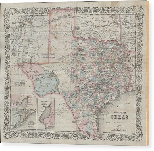 1870 Colton Pocket Map Of Texas Wood Print