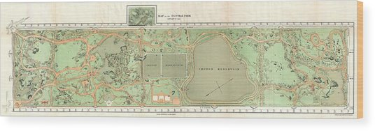 1870 Vaux And Olmstead Map Of Central Park New York City Wood Print