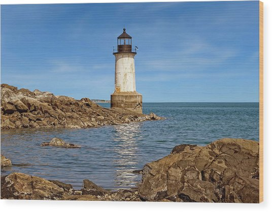 1871 Fort Pickering Light  -  Salem1871fortpickeringlight185101 Wood Print by Frank J Benz