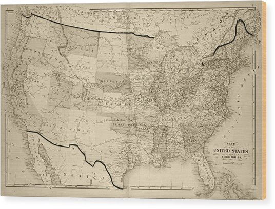 1876 Map Of The United States Sepia Wood Print