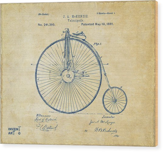 Wood Print featuring the digital art 1881 Velocipede Bicycle Patent Artwork - Vintage by Nikki Marie Smith