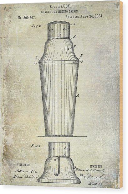 1884 Drink Shaker Patent Wood Print