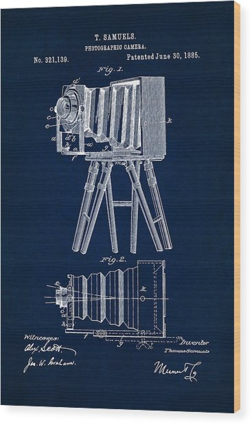 1885 Camera Us Patent Invention Drawing - Dark Blue Wood Print