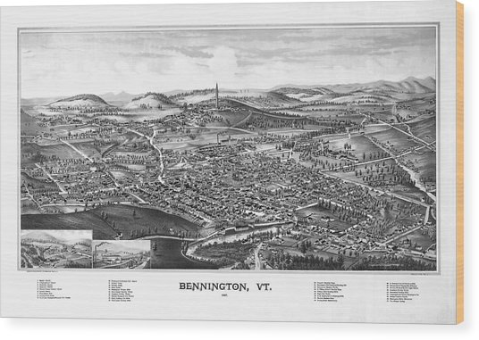 1887 Vintage Map Of Bennington Vermont Wood Print