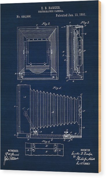 1891 Camera Us Patent Invention Drawing - Dark Blue Wood Print