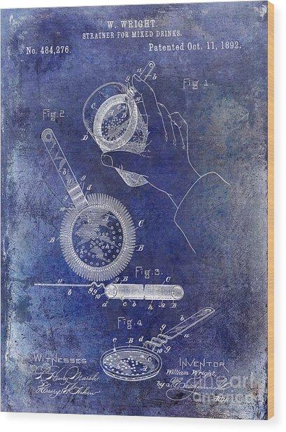1892 Cocktail Mixer Blue Wood Print