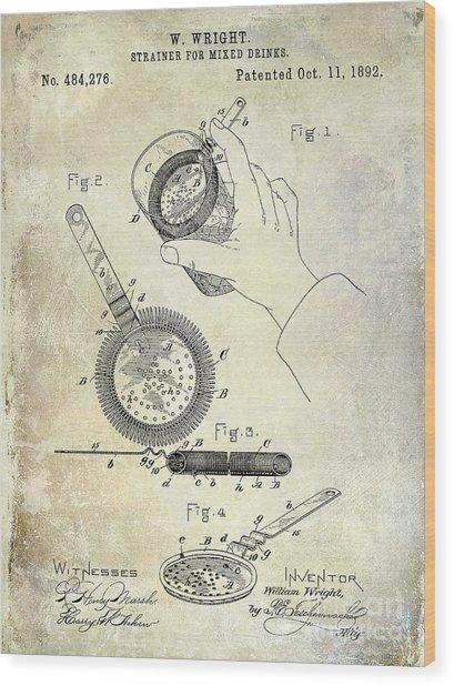 1892 Cocktail Mixer Wood Print