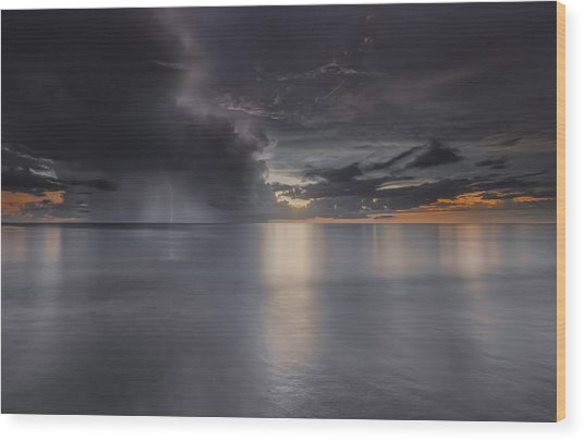 Sunst Over The Ocean Wood Print