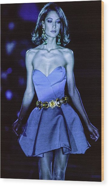 Versace Fall 1991 Rtw Show Wood Print by Guy Marineau