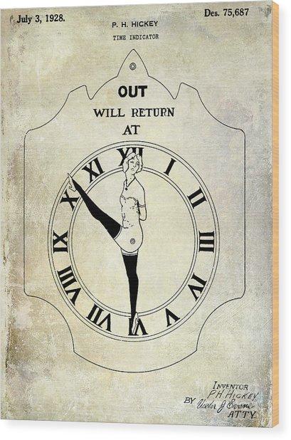 1928 Time Indicator Patent  Wood Print