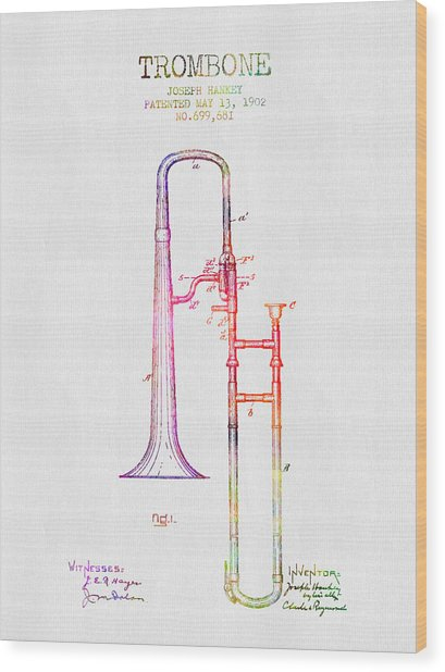 1902 Trombone Patent - Color Wood Print