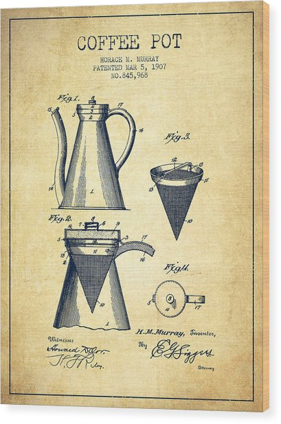 1907 Coffee Pot Patent - Vintage Wood Print