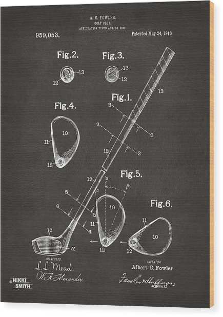 Wood Print featuring the digital art 1910 Golf Club Patent Artwork - Gray by Nikki Marie Smith